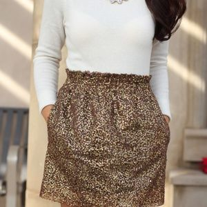J Crew Sequins Gold Skirt size 4